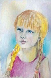 Aquarellmalerei, Mädchen, Kleines mädchen, Augen