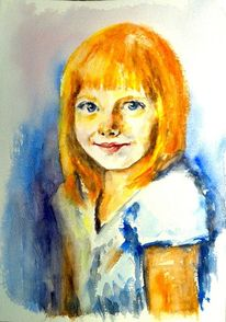 Mädchen, Kinderportrait, Aquarellmalerei, Kind