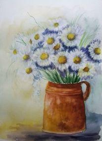 Stillleben, Vase, Blumen, Aquarellmalerei