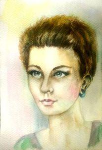 Portrait, Aquarellmalerei, Augen, Blau