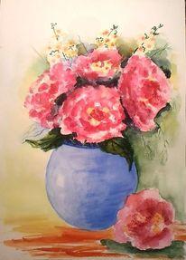Blumen, Blau, Vase, Grün