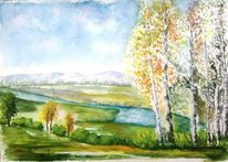 Aquarellmalerei, Baum, Birken, Berge