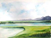 Teich, Aquarellmalerei, Blumen, Landschaft