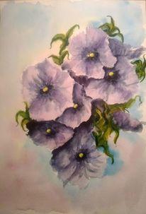 Natur, Aquarellmalerei, Blau, Blumen