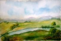 Baum, Berge, Himmel, Aquarellmalerei