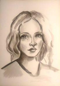 Tuschmalerei, Schwarz, Gesicht, Zeichnung