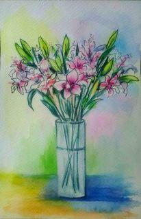 Aquarellmalerei, Schwarz, Vase, Blumen