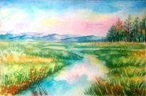 Landschaft, See, Landschaftsmalerei, Natur
