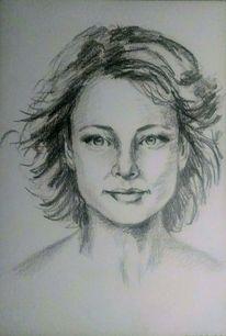Bleistiftzeichnung, Junge frau, Gesicht, Schön