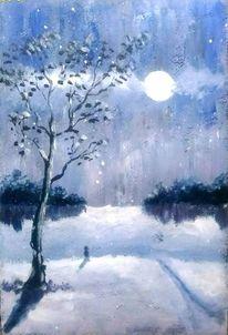 Winter, Lila, Malerei landschaften, Landschaftsmalerei
