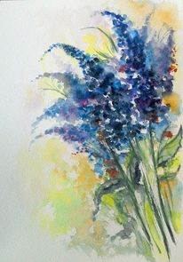 Blumenstrauß, Gelb, Blumen, Blau