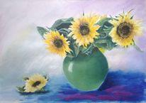 Sonnenblumen, Acrylmalerei, Vase, Blumen