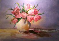 Vase, Tulpen, Blumen, Acrylmalerei