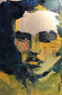 Modern, Abstrakt, Portrait, Malerei