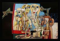 Farben, Acrylmalerei, Frau, Surreal