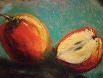 Aufgeschnitten, Schatten, Apfel, Malerei
