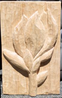 Magnolien, Holzrelief, Blumen, Kunsthandwerk
