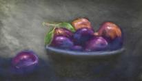 Obst, Pflaume, Schale, Malerei