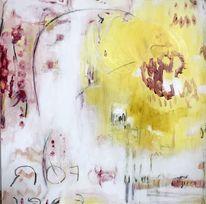 Modern, Abstrakt, Acrylmalerei, Gelb