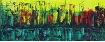 Großstadt, Malerei, Hochhaus, Acrylmalerei