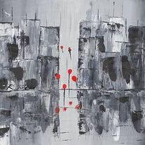 Ballon, Malerei, Hochhaus, Abstrakte kunst