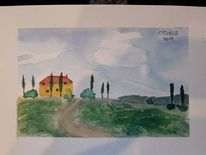 Toskana, Villa, Landschaft, Aquarellmalerei