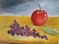 Ocker, Obst, Ölmalerei, Gelb