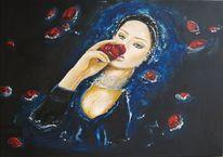 Wasser, Blumen, Rose, Ölmalerei