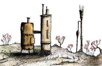 Landschaft, Aquarellmalerei, Motor, Zeichnung