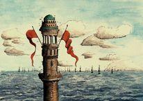 Turm, Aquarellmalerei, Meer, Schiff