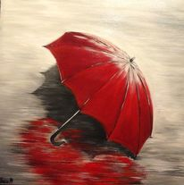 Blau, Red umbrella, Wasser, Rot