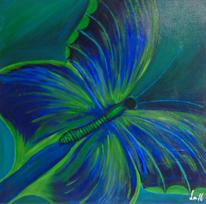 Wohnzimmer, Grün, Schmetterling, Blau