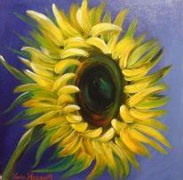 Modern art, Blau, Blumen, Sonnenblumen
