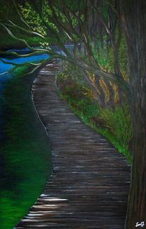 Baum, Herbst, Grün, Acrylmalerei