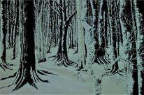 Grau, Baum, Winter, Braun