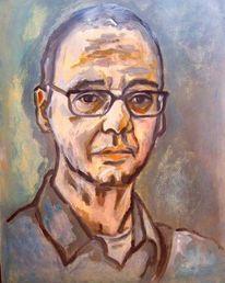Portrait, Nachdenklich, Mann, Malerei