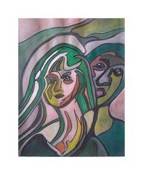 Grün, Frau, Acrylmalerei, Malerei