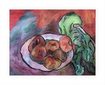 Malerei, Obst, Kohlrabi, Stillleben