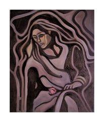 Frau, Rose, Malerei,