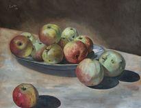Ölmalerei, Apfel, Obst, Stillleben