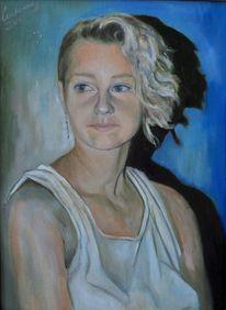 Jung, Ölmalerei, Mädchen, Blond