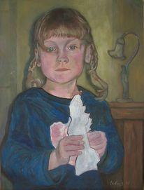 Mädchen, Zopf, Papiertaube, Malerei
