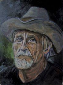 Portrait, Hut, Mann, Malerei