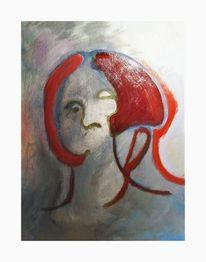 Frau, Rot, Malerei, Oktober