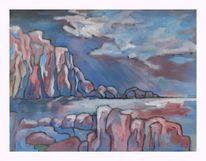 Fantasie, Steilküste, Meer, Malerei