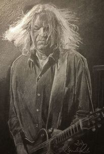 Zeichnen, Portrait, Schwarz, Gitarre