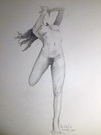 Bleistiftzeichnung, Frau, Skizze, Studie