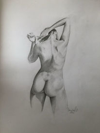 Rückenakt, Zeichnen, Fantasie, Aktmalerei