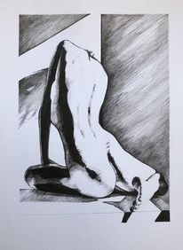Frau, Zeichnung, Akt, Tuschmalerei