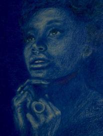 Portrait, Buntstiftzeichnung, Menschen, Blau